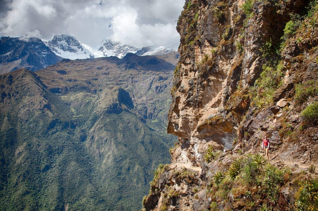 Trail cut into the mountain side on way to Yanama, Peru