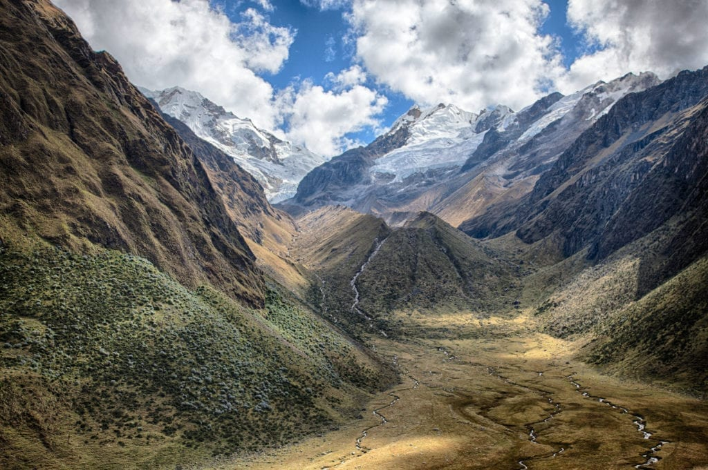 Mountains and streams on the hike to Yanama Pass, Peru