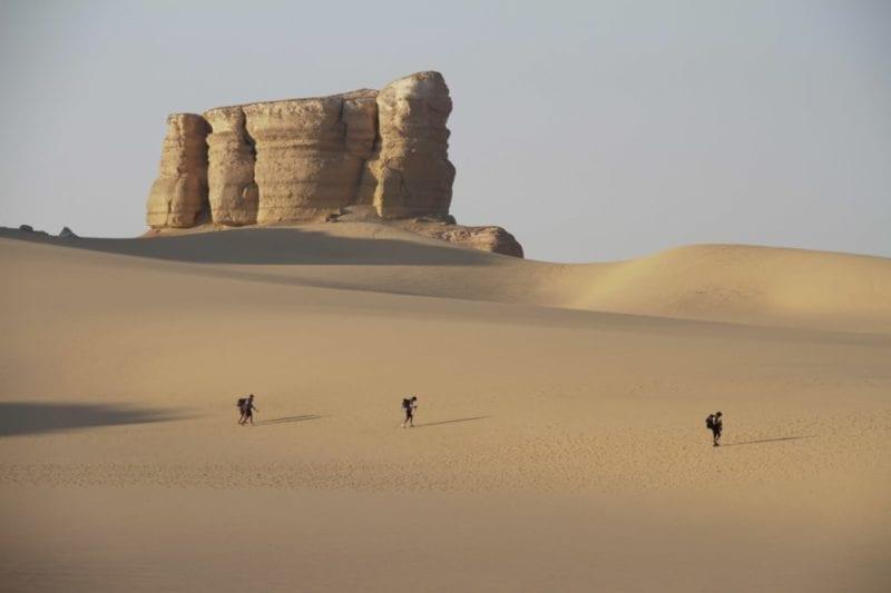 Runners/walkers in the desert