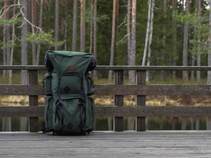 Backpacking backpack in the woods